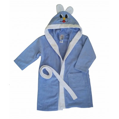 """Μπουρνούζι παιδικό """"κουνελάκι"""" Γαλάζιο"""