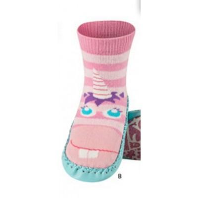 Κάλτσες με δερμάτινη αντιολισθητική σόλα Soxo 33016_pink